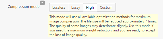 Image optimization settings for WordPress websites