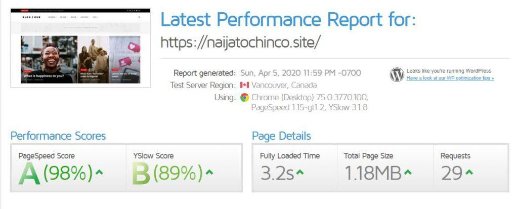 The result from the test checking the WordPress website speed