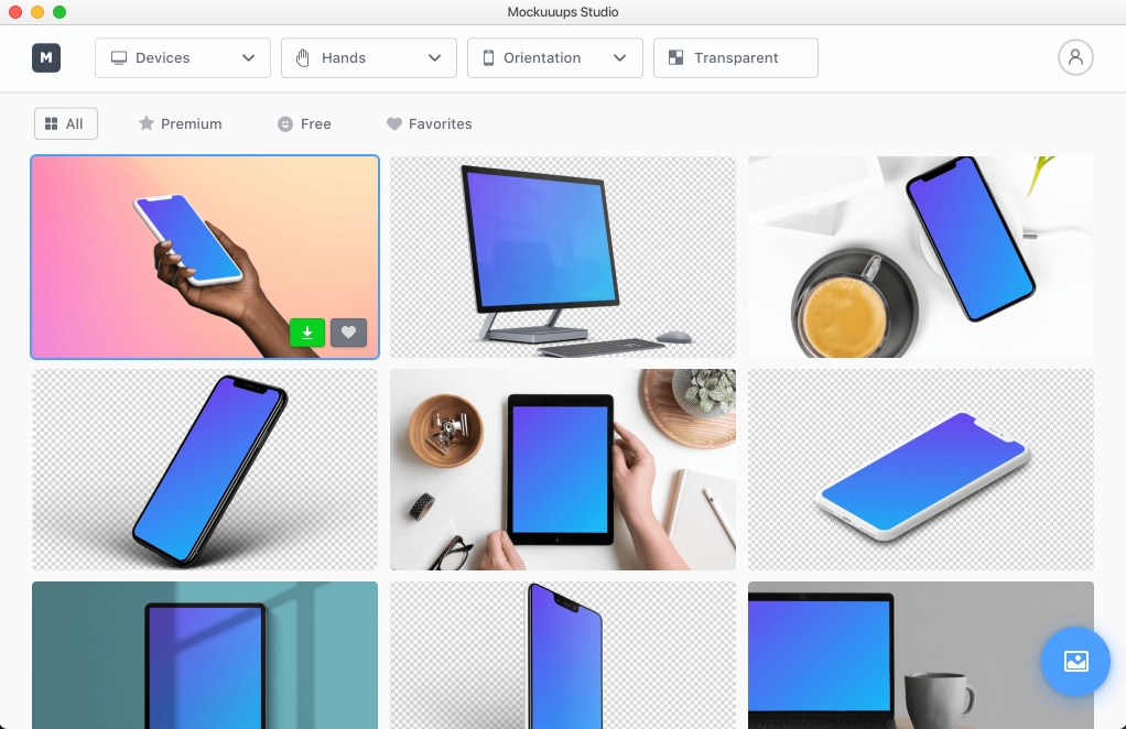 The mockuuups studio is a desktop application (for Linux, Mac, and Windows) that users can use to create excellent mockup